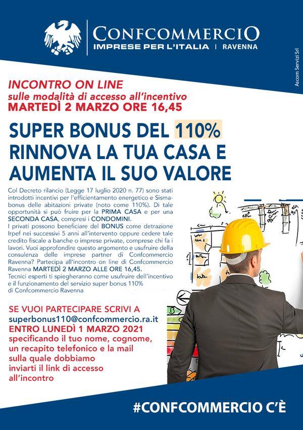 SUPERBONUS DEL 110% - INCONTRO ONLINE MARTEDI